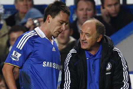 Chelsea captain John Terry and manager Luiz Felipe Scolari