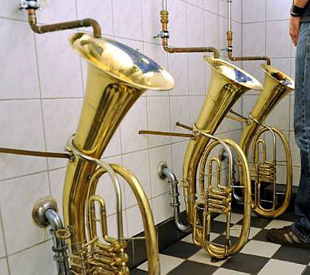 Fine tuning: Weeing into a tenor horn is the done thing in Freiburg