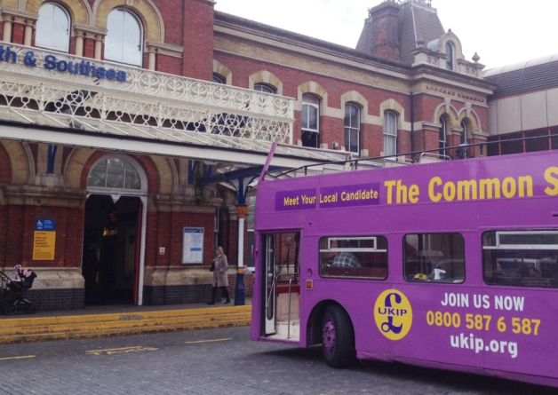 UKIP campaign bus collides with Portsmouth station as party begins election campaign
