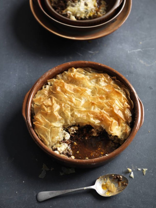 Genevieve Taylor's Greek lamb filo pie with feta and oregano (Picture: Mike Cooper)