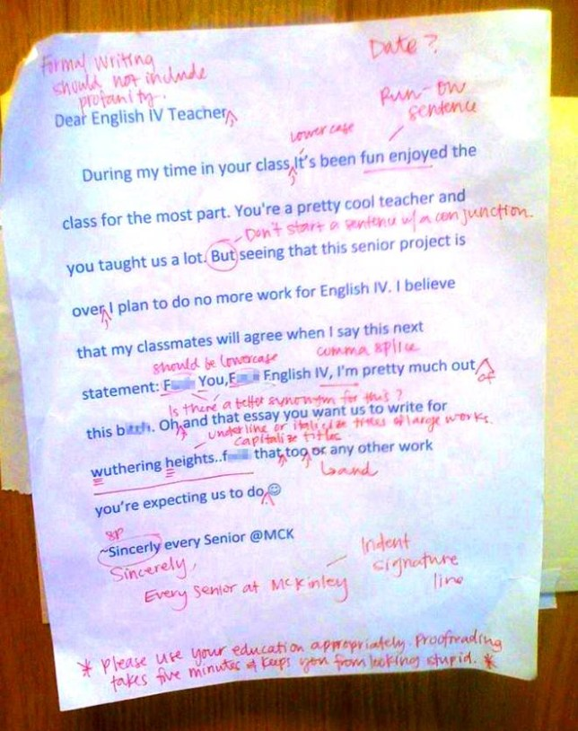 English teacher answers student poison pen letter with