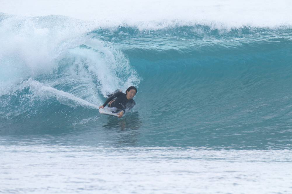 Surfing at Japan's Niijima beach (Picture: Hero)