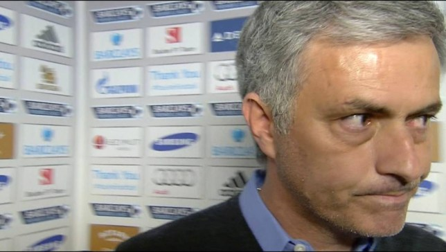 """Enterprise News and Pictures                                  19/4/14 Pic shows: Chelsea manager Jose Mourinho making sarcastic comments about the performance of the officials during his post match interview after losing his unbeaten home record to bottom of the table Sunderland today when referee Mike Dean awarded them a winning penalty. He gave it when Jozy Altidore stumbled as he tried to plant his foot in the penalty box following a clumsy challenge by Chelsea's Cesar Azpilicueta, shown tonight on Match of the Day on BBC1 HD. A tongue in cheek Mourinho said: """"Congratulations to Mike Dean. His performance was fantastic. I think a really amazing performance."""" He added: """" And finally congratulations to Mike Riley because the way he organised things this season. Referees doing really well according to the objectives. So congratulations also to Mike Riley....I have nothing more to say,"""" He then departed(shown here). See story..."""