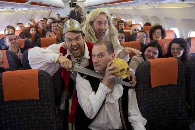 All a-bard! It's Shakes on a plane: Comedy troupe act out playwright's works on EasyJet flight to Verona