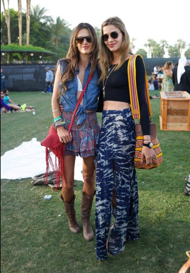 Alessandra Ambrosio and Ana Beatriz Barros go boho at Coachella (Picture: Rex)