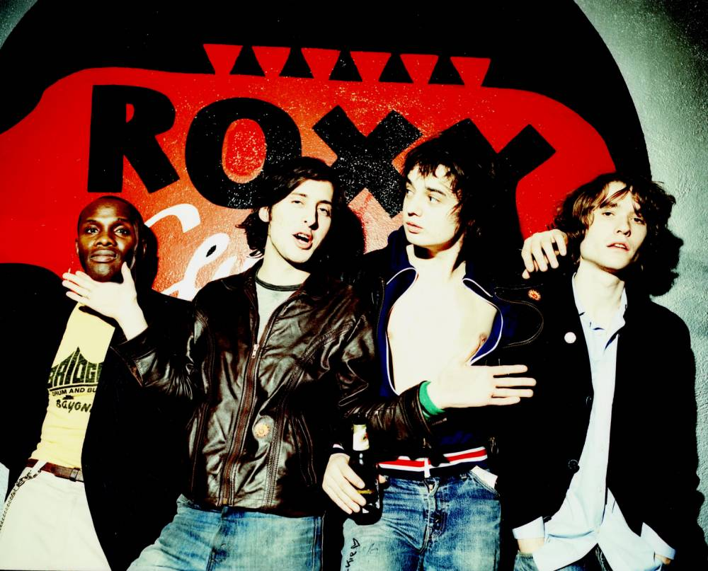 The Libertines release their new self-titled album, The Libertines. Released on August 30. Carl Barat (second left), Pete Doherty (second right). from Coalition PR promo pic for new album Aug 2004 no fee