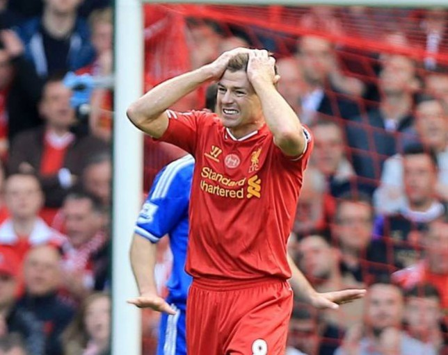 Liverpool's Steven Gerrard rues a missed chance during the Barclays Premier League match at Anfield, Liverpool. PRESS ASSOCIATION Photo. Picture date: Sunday April 27, 2014. See PA story SOCCER Liverpool. Photo credit should read: Peter Byrne/PA Wire. RESTRICTIONS: Editorial use only. Maximum 45 images during a match. No video emulation or promotion as 'live'. No use in games, competitions, merchandise, betting or single club/player services. No use with unofficial audio, video, data, fixtures or club/league logos.