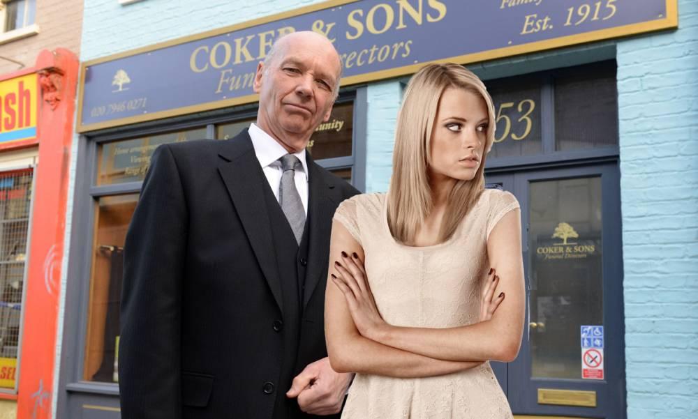 WARNING: Embargoed for publication until: 04/04/2014 - Programme Name: EastEnders - TX: n/a - Episode: 4841 (No. 4841) - Picture Shows: Les and Pam Coker.  Les Coker (ROGER SLOMAN), Pam Coker (LIN BLAKLEY) - (C) BBC - Photographer: Kieron McCarron
