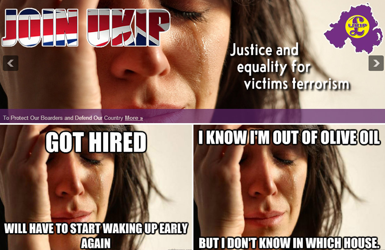More problems for Ukip after 'First World Problems' website picture fail