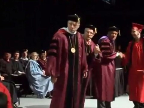 Video: Graduation ceremony backflip celebration goes spectacularly wrong