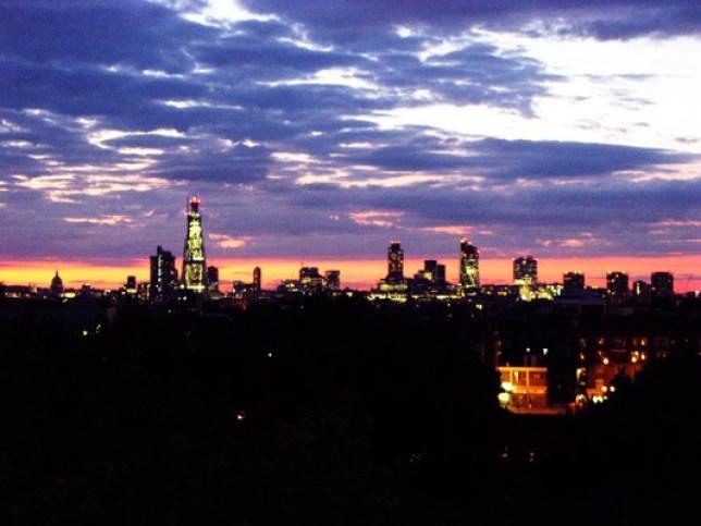 Nighttime view of Peckham