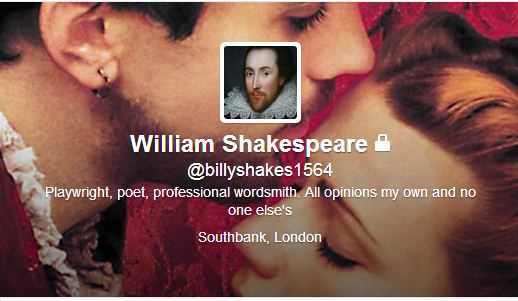 William Shakespeare was taken