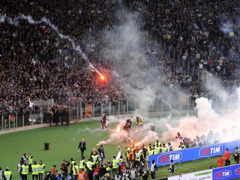 16 pictures summing up the chaos of Italian Cup final between Napoli and Fiorentina