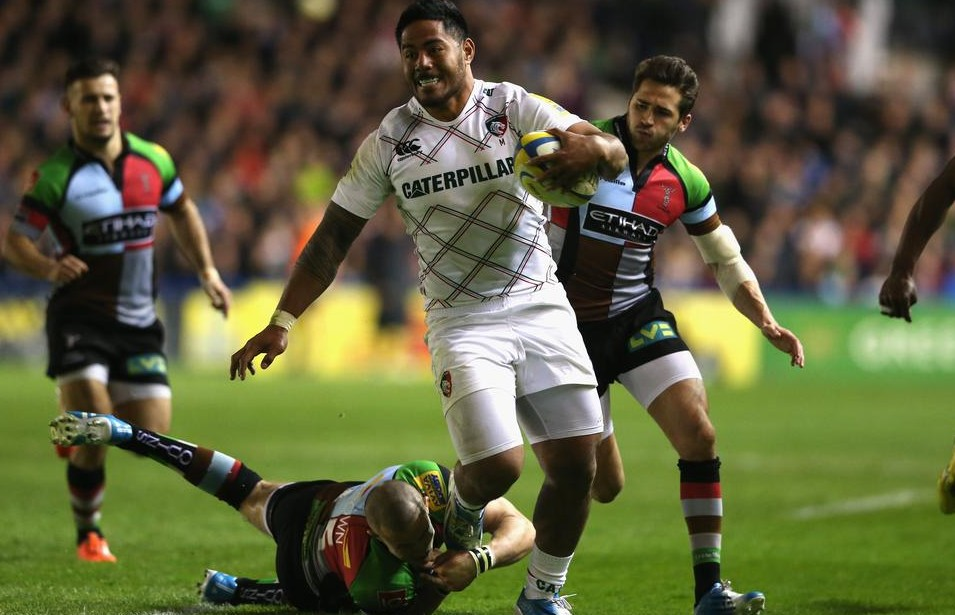 LONDON, ENGLAND - APRIL 18: Manu Tuilagi of Leicester moves away from Mike Brown during the Aviva Premiership match between Harlequins and Leicester Tigers at the Twickenham Stoop on April 18, 2014 in London, England. David Rogers/Getty Images