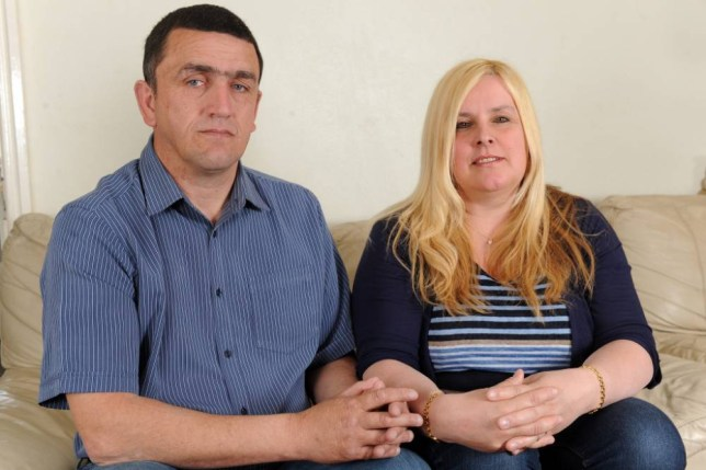 Picture shows Kim Walmsley from Liverpool, with husband Jack Walmsley, who has been forced to move home from Australia after discovering she was recorded as a BOY on her birth registry - and is technically locked in a 'gay' marriage. See Ross Parry copy RPYBIRTH : Mum-of-five Kim Walmsley, 49, says her world has been turned upside down after it came to light the registrar wrongly recorded her as a male when she was born in February 1965. Kim says when she first noticed the mistake last year when she applied for a full-time Oz visa she ''laughed it off'' and thought it would be put right straight away.  But she was then told the information could not be altered because it is a legal document - making her 23-year marriage to husband Jack, 49, illegal. rossparry.co.uk/Thomas Temple