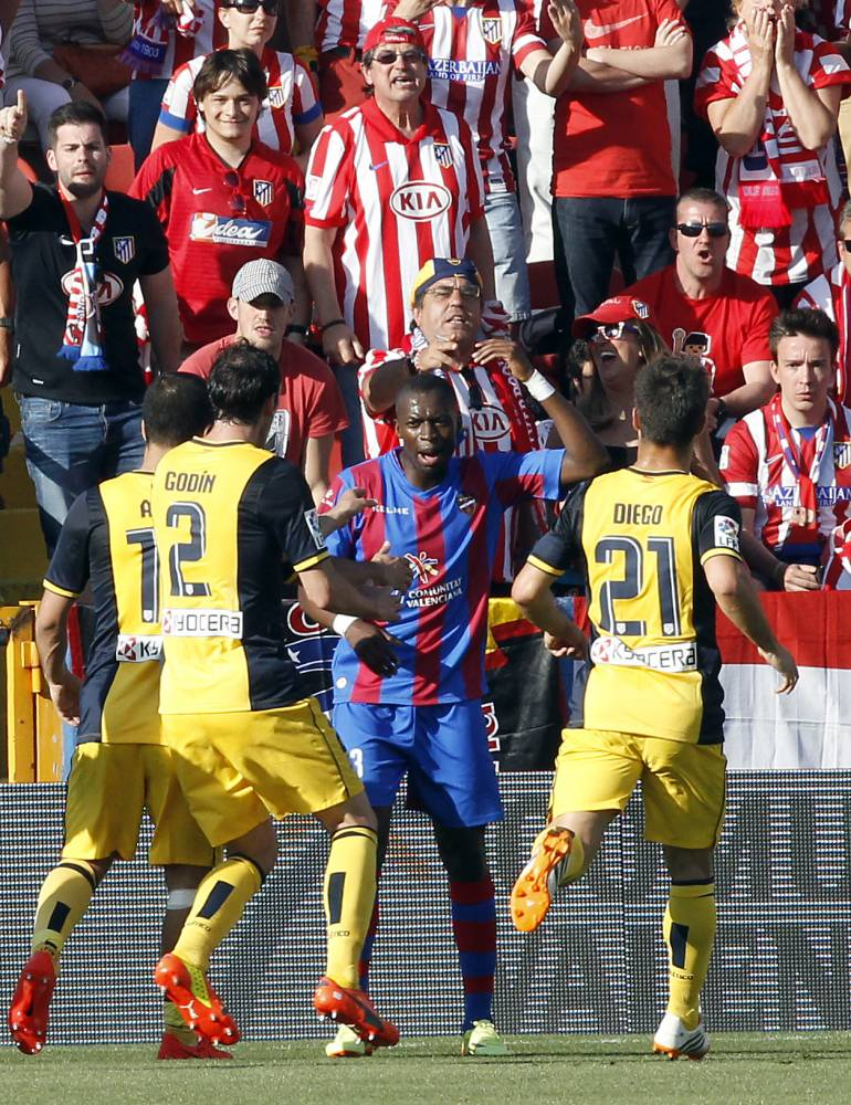 Levante's Pape Diop responds to Atletico Madrid racists by performing 'monkey dance' which sparks brawl