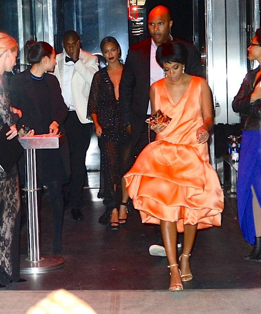 Beyonce, Jay-Z and Solange Knowles were seen leaving the Met Gala After Party at the Boom Boom Room in the Meatpacking District. Pictured: Jay-Z , Beyonce, Solange Knowles (picture: Splash News)