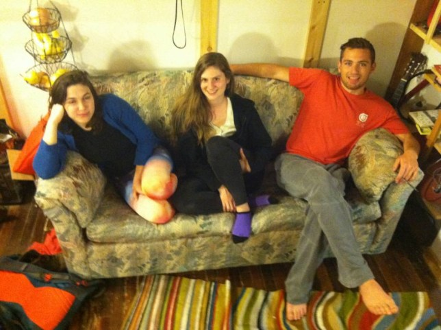 Students Reese Werkhoven, Cally Guasti and Lara Russo find $40,000 in New York charity shop sofa
