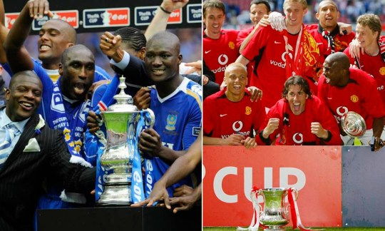 PORTSMOUTH V CARDIFF CITY 1-0 FA CUP FINAL 2008 , AT WEMBLEY PORTSMOUTH PLAYERS WITH THE FA CUP  . REXMAILPIX.