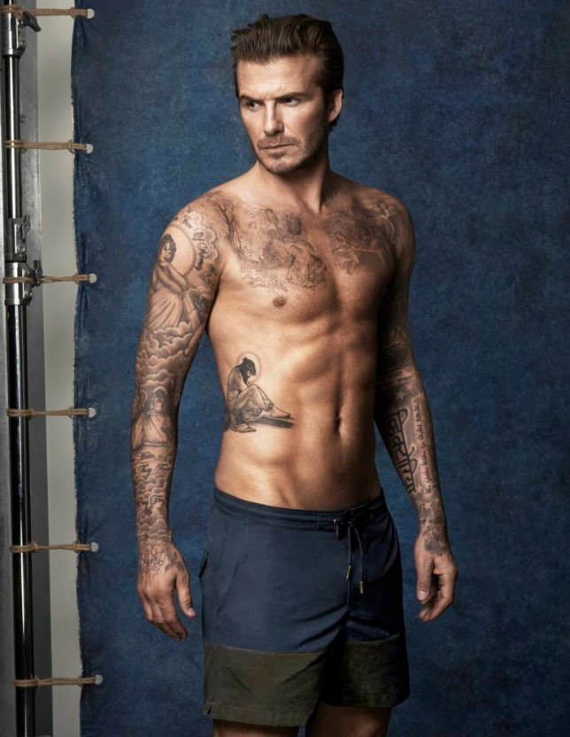 5df8f33bee ... David Beckham launches H&M swimwear range. Becks models his new swimwear  (Picture: H&M)