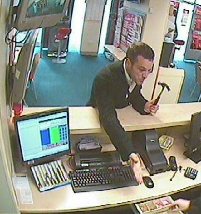 Manhunt: police are looking for this man after he robbed a betting shop armed with a hammer (Picture: Dorset Police)