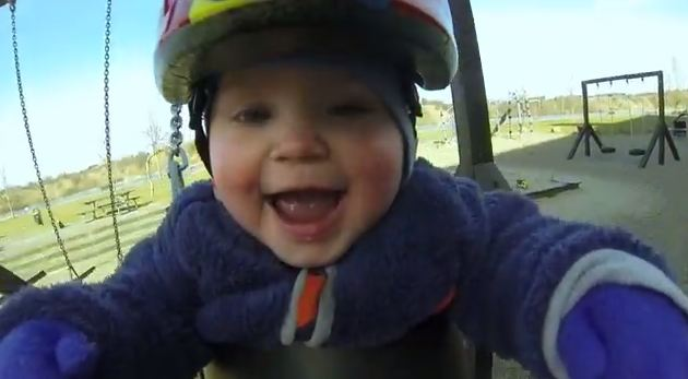 Is this the happiest video EVER? Laughing baby dribbles with joy at being pushed on swing