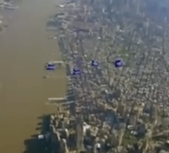 Wooosh! Daredevil wingsuit flyers take to the skies over New York City