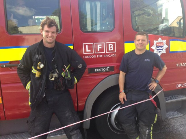 Meet the midwives: Firefighters Ross McLaren, left, and Richie Hall (Picture: Twitter/LFB)