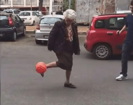 Italian gran shows off her mad football skills