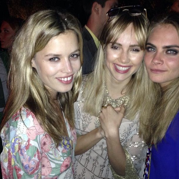 Cara Delevingne and Suki Waterhouse show off their mad football skills during downtime