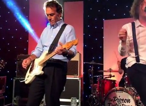 Coolest owner ever? Massimo Cellino plays guitar with Pigeon Detectives at Leeds United party