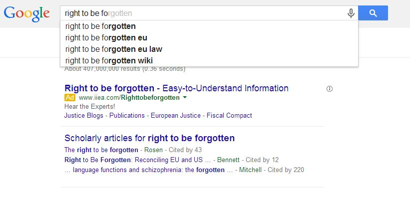 Right to be forgotten, Google