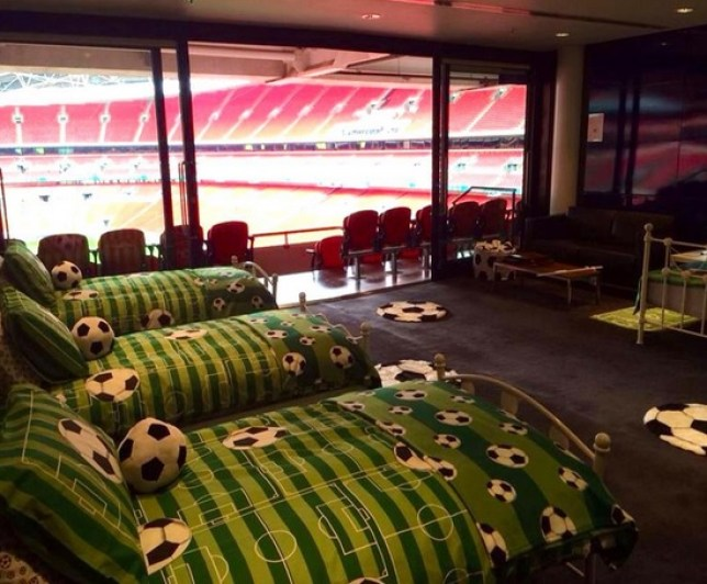 Is this the best sleepover venue ever? (Picture: Twitter/@wembleystadium)
