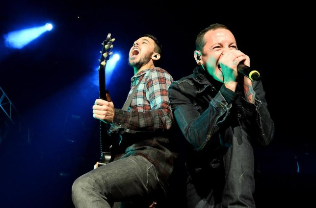Mike Shinoda (L) and singer Chester Bennington of Linkin Park have produced their heaviest sounding album yet (Photo: Ethan Miller/Getty Images)