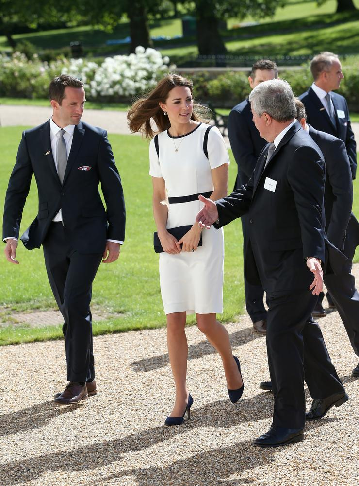 Kate chats to Sir Keith Mills and Sir Ben Ainslie as she arrives at the National Maritime Museum in Greenwich for the Ben Ainslie America's Cup Launch (Picture: Chris Jackson/Getty Images)