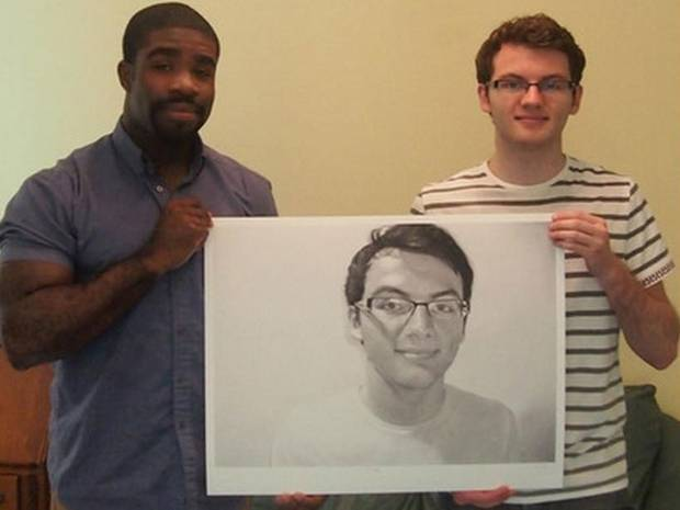 Kelvin Okafor drew Stephen Sutton's portrait last May (Picture: Albemarle Gallery)