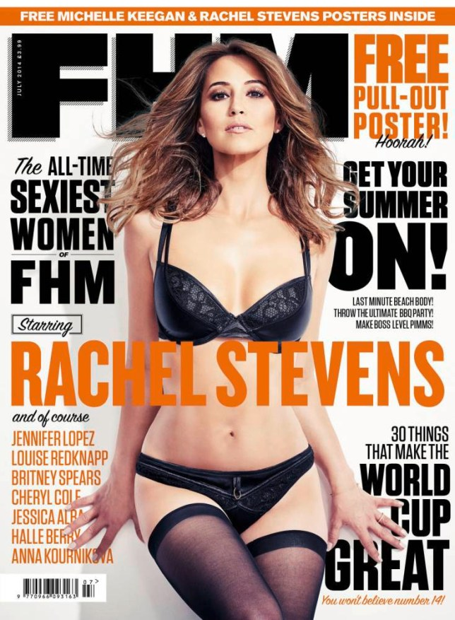 NO SALES. NO ARCHIVE. EDITORIAL USE ONLY. THIS PICTURE MUST USED WITH PICTURES OF RACHE STEVENS FOR PA STORY SHOWBIZ Stevens.   Undated handout photo of the front cover of the latest edition of FHM magazine of  showing Rachel Stevens where she was named FHM's Sexiest Woman of All Time. PRESS ASSOCIATION Photo. Issue date: Wednesday June 4, 2014.  See PA story SHOWBIZ Stevens. Photo credit should read: FHM/PA Wire NOTE TO EDITORS: This handout photo may only be used in for editorial reporting purposes for the contemporaneous illustration of events, things or the people in the image or facts mentioned in the caption. Reuse of the picture may require further permission from the copyright holder.