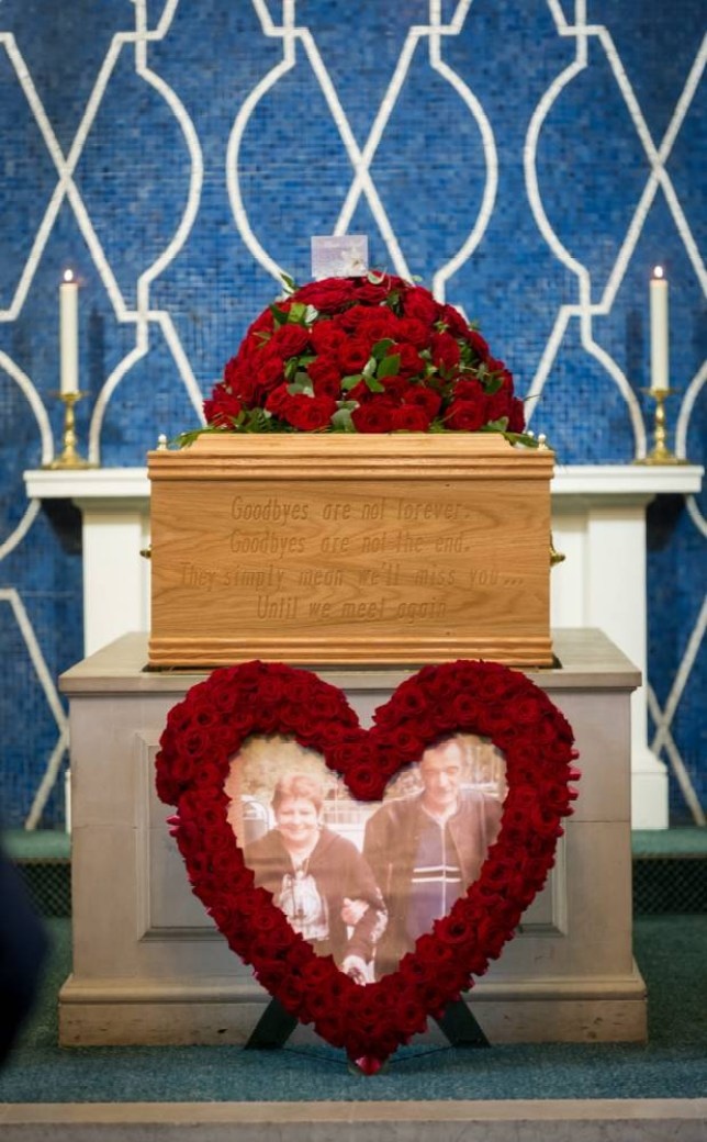 The funeral of Kevin and Christine Shearson at West Hearts Crematorium Watford. Kevin and Christine who died just two hours apart were cremated today in the same casket - it is the first time an adult couple have been placed in the same coffin side by side. See MASONS story MNCASKET; A devoted couple who died just two hours apart have been cremated together in what is thought to be the first funeral of its kind in Britain. Kevin and Christine Shearson, both 64, passed away just a week before they planned to celebrate their 40th wedding anniversary. Multiple sclerosis had left Kevin with a string of health problems and he had made frequent visits to hospital since the turn of the year. Last month his condition worsened and he was admitted to the intensive care unit of Stoke Mandeville Hospital, Bucks.