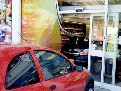 Woman crashes Vauxhall Astra into Sainsbury's store