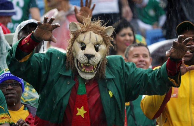 A Cameroon supporter wearing a mask gestures before the start of the group A World Cup soccer match between Mexico and Cameroon in the Arena das Dunas in Natal, Brazil, Friday, June 13, 2014.   (AP Photo/Sergei Grits)