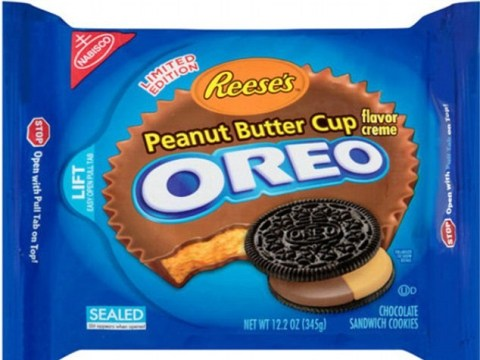 Oreos and Reese's Peanut Butter Cups combine into one amazing chocolate treat