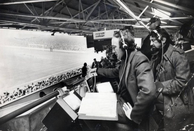Barry Davies, commentator , and outside broadcast studio manager Neville Alcock Match of the Day Liverpool Match . REXMAILPIX.