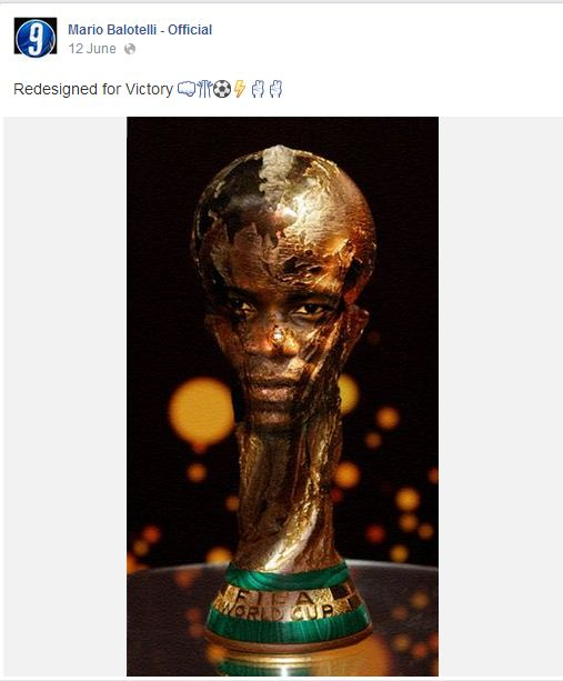 Mario Balotelli designs a new World Cup trophy…modelled on his face