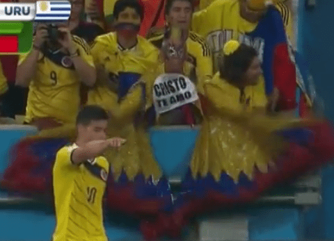 Colombia 'Birdman' fan brilliantly tries to put off Uruguay players behind goal
