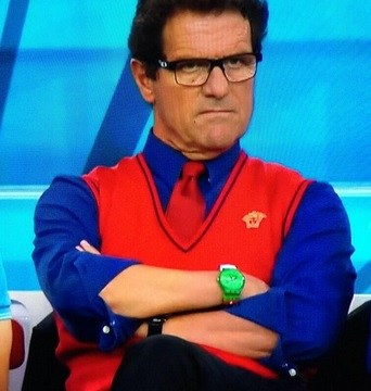 Russia boss Fabio Capello attempts to distract Algeria players with shocking jumper – and green watch