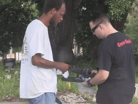 Prankster hands out brand new socks and shoes to the homeless