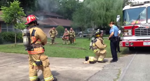 Fireman stuns girlfriend with fake fire wedding proposal