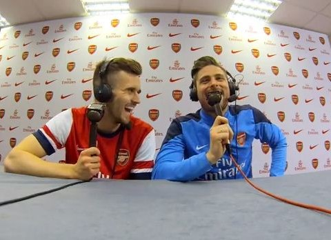 Arsenal pair Olivier Giroud and Carl Jenkinson turn their hand to commentary – and take cheeky dig at Mesut Ozil