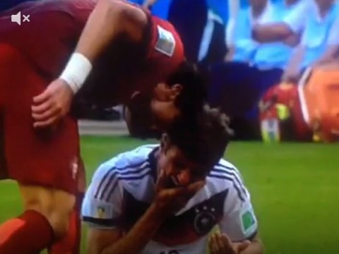 Silly! Pepe headbutts Thomas Muller – and receives a straight red card