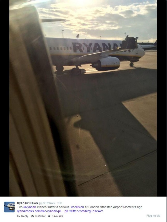 The wing tail was torn off int he collision (Picture: Ryanair News via Twitter)